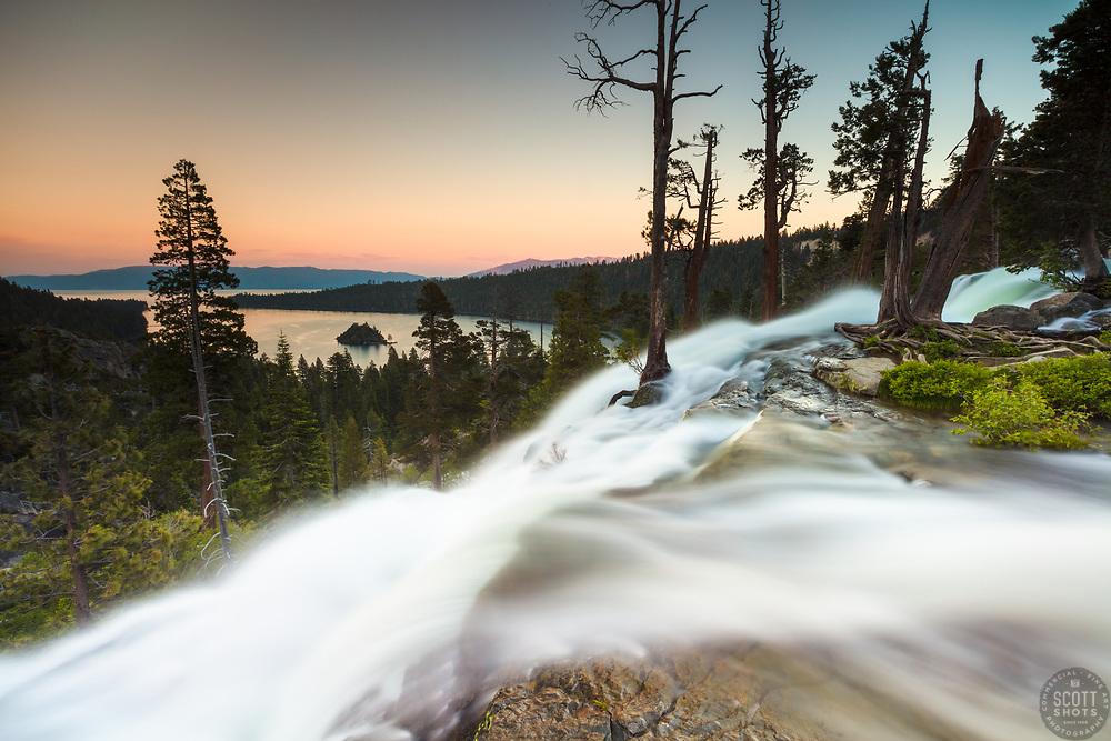 """""""Eagle Falls at Emerald Bay 5"""" - Photograph taken at sunset of Eagle Falls and Emerald Bay, Lake Tahoe."""
