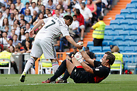 Real Madrid´s Ivan Perez and Liverpool´s Westerveld during 2015 Corazon Classic Match between Real Madrid Leyendas and Liverpool Legends at Santiago Bernabeu stadium in Madrid, Spain. June 14, 2015. (ALTERPHOTOS/Victor Blanco)