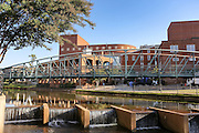 River Place bridge and artwork Paradigm Pathway at Art Crossing over the Reedy River in downtown Greenville, South Carolina.