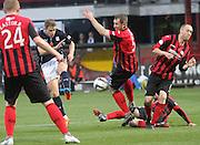 St Johnstone's Frazer Wright blocks Greg Stewart's shot -  Dundee v St Johnstone, SPFL Premiership at Dens Park<br /> <br />  - &copy; David Young - www.davidyoungphoto.co.uk - email: davidyoungphoto@gmail.com