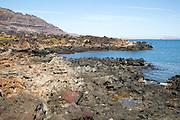 Rocky shoreline on cast at Orzola, Lanzarote, Canary Islands, Spain
