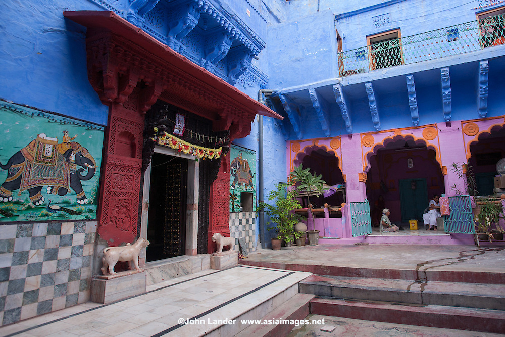 "Neighborhood Hindu shrine in ""the blue city""  of Jodhpur which was formerly the capital of the kingdom of Marwar.   Jodhpur is called  the ""Blue City"" because of the many blue  houses around the Mehrangarh Fort, especially in the community of Brampuri - Brahmin village."