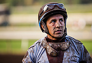 ARCADIA, CA - DECEMBER 30: Jockey Victor Espinoza after a race at Santa Anita Park on December 30, 2017 in Arcadia, California. (Photo by Alex Evers/Eclipse Sportswire/Getty Images)