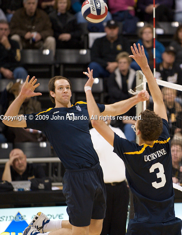Bryan Simmons(17) gets the set from Ryan Ammerman(3) in the match against Long Beach State at the Walter Pyramid, Long Beach CA, Friday, January 23, 2009.  The Anteaters win in four sets, 34-32, 32-30, 28-30, 30-27.