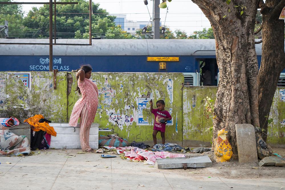 A homeless encampment outside a train station in Chennai, India.
