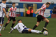 Paddy Lacey and Kyle Storer during the Vanarama National League match between Barrow and Cheltenham Town at Holker Street, Barrow, United Kingdom on 6 February 2016. Photo by Antony Thompson.