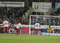 October 20, 2018 - Strasbourg, France - Thomasson Adrien,Goal the French L1 football match between Strasbourg (RCSA) and Monaco at the Meinau stadium in Strasbourg, eastern France on October 20, 2018. (Credit Image: © Elyxandro Cegarra/NurPhoto via ZUMA Press)