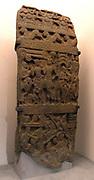 The Snake King Sankhapala Alara, invites to his palace and fight scenes. 3rd century Amaravati School (1st century BC - 3rd century AD) marmoreal limestone sculpture. Andhra Pradesh, India