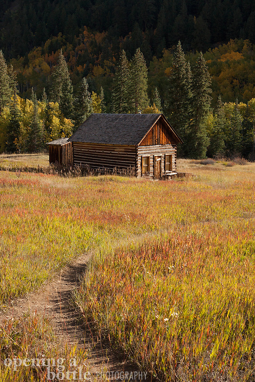 Solitary cabin in early morning light, Ashcroft ghost town south of Aspen, Colorado.