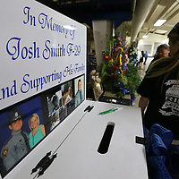 A domation box was set up for the family of Mississippi Highway Patrol officer Josh Smith at his funeral on Thursday in Corinth.