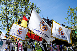 Real Madrid flags  on sale outside the stadium before the match - Mandatory byline: Rogan Thomson/JMP - 04/05/2016 - FOOTBALL - Santiago Bernabeu Stadium - Madrid, Spain - Real Madrid v Manchester City - UEFA Champions League Semi Finals: Second Leg.