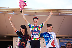 Top three on the stage: Ruth Winder (USA), Kasia Niewiadoma (POL) and Greta Richioud (FRA) at Tour Cycliste Féminin International de l'Ardèche 2018 - Stage 6, a 113.7km road race from Savasse to Montboucher sur Jabron, France on September 17, 2018. Photo by Sean Robinson/velofocus.com