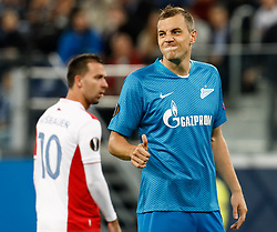 October 4, 2018 - Saint Petersburg, Russia - Artem Dzyuba (R) of FC Zenit Saint Petersburg gestures during the Group C match of the UEFA Europa League between FC Zenit Saint Petersburg and SK Sparta Prague at Saint Petersburg Stadium on October 4, 2018 in Saint Petersburg, Russia. (Credit Image: © Mike Kireev/NurPhoto/ZUMA Press)
