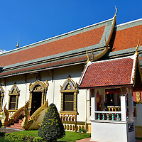 Modern Vihara at Wat Chiang Man in Chiang Mai, Thailand<br /> Inside this ornate prayer hall called the modern vihara at Wat Chiang Man are two famous Buddha statues.  The Phra Sila or Marble Buddha dates back to the 8th century.  Older yet is the Crystal Buddha called Phra Setangamani.  It originated around 200 AD and was captured by King Mangrai, the founder of Chiang Mai, in 1296.