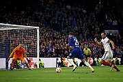 Chelsea FC forward Alvaro Morata (29) bears down on goal during the Europa League match between Chelsea and MOL Vidi at Stamford Bridge, London, England on 4 October 2018.