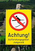 Yellow No skiing warning sign Photographed in Tirol, Austria