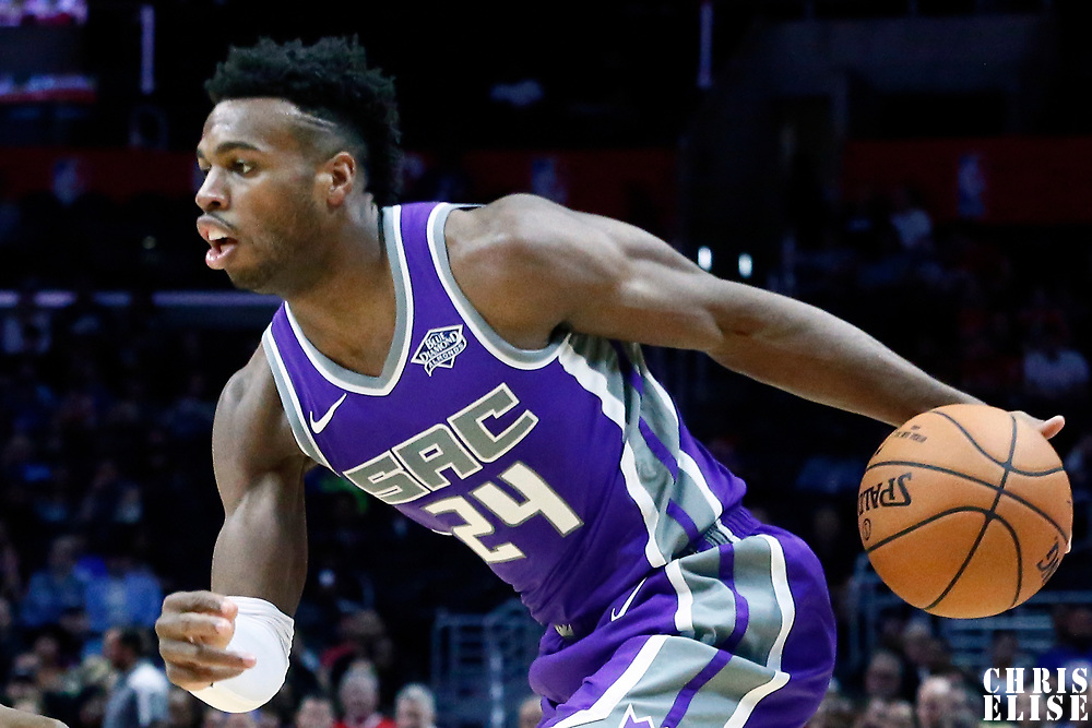 12 October 2017: Sacramento Kings guard Buddy Hield (24) drives during the LA Clippers 104-87 victory over the Sacramento Kings, at the Staples Center, Los Angeles, California, USA.