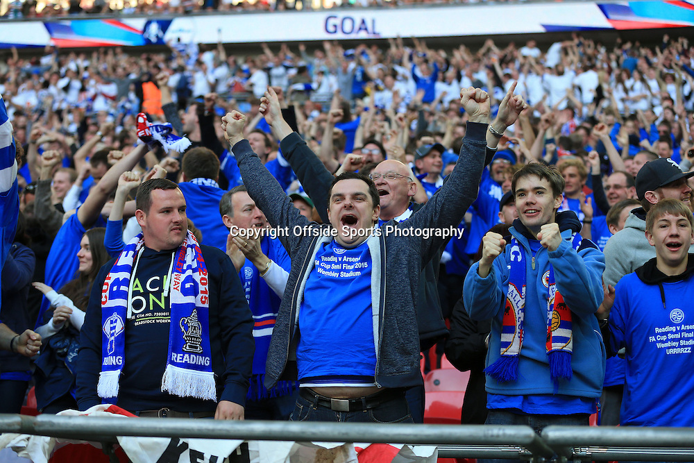 18th April 2015 - FA Cup - Semi-Final - Reading v Arsenal - Reading fans celebrate their 1st goal - Photo: Simon Stacpoole / Offside.