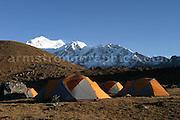 Himalayan Camp, Southern Himalayas, Kanchenchunga in the background.
