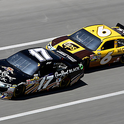 April 17, 2011; Talladega, AL, USA; NASCAR Sprint Cup Series driver David Ragan (6) drafts Matt Kenseth (17) during the Aarons 499 at Talladega Superspeedway.   Mandatory Credit: Derick E. Hingle