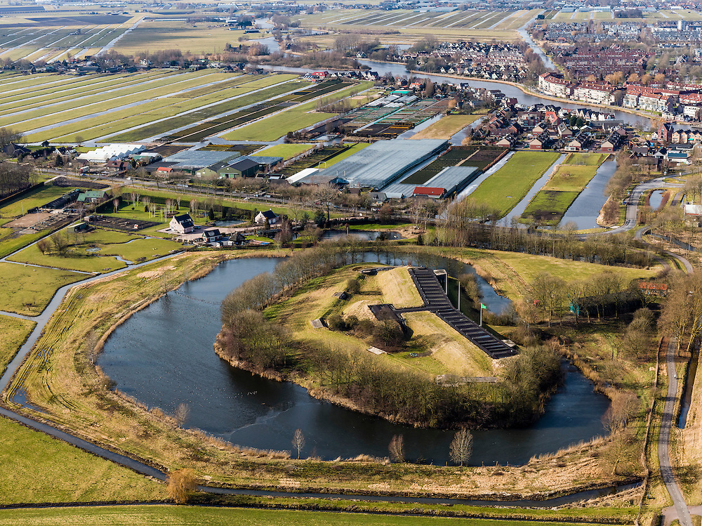 Nederland, Noord-Holland, Gemeente Uithoorn, 20-02-2012; Fort bij Uithoorn.  .Fortress near Uithoorn, part of the Defense line of Amsterdam, the river Amstel (top right)..luchtfoto (toeslag), aerial photo (additional fee required);.copyright foto/photo Siebe Swart.