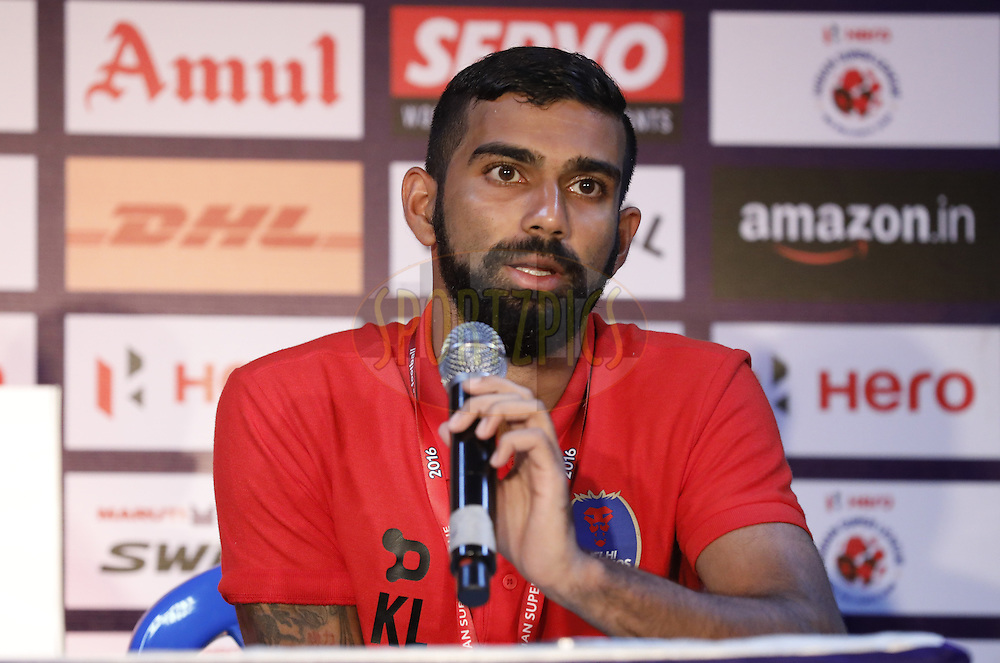 Kean Francis Lewis of Delhi Dynamos FC during press conference after match 6 of the Indian Super League (ISL) season 3 between Chennaiyin FC and Delhi Dynamos FC held at the Jawaharlal Nehru Stadium in Chennai, India on the 6th October 2016.<br /> <br /> Photo by Arjun Singh / ISL/ SPORTZPICS