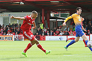 Accrington's Kayden Jackson scored a goal during the EFL Sky Bet League 2 match between Accrington Stanley and Mansfield Town at the Fraser Eagle Stadium, Accrington, England on 19 August 2017. Photo by John Potts.
