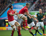 Twickenham, Great Britain, Gareth ASCOMBE, collect the high ball supported by left Luke CHARTERIS, during the Quarter Final 1 game, South Africa vs Wales.  2015 Rugby World Cup,  Venue, Twickenham Stadium, Surrey, ENGLAND.  Saturday  17/10/2015.   [Mandatory Credit; Peter Spurrier/Intersport-images]