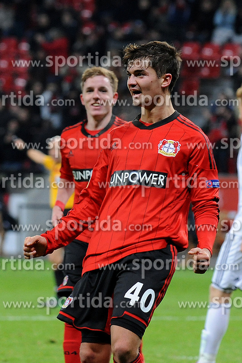 06.12.2012, BayArena, Leverkusen, GER, UEFA EL,Bayer Leverkusen vs Rosenborg Trondheim, Gruppe K, im Bild Torschuetze Julian Riedel ( Bayer 04 Leverkusen/ Portrait ) jubelt ueber das 1 : 0 // during UEFA Europa League group K match between Leverkusen and Rosenborg Trondheim at the BayArena, Leverkusen, Germany on 2012/12/06. EXPA Pictures © 2012, PhotoCredit: EXPA/ Eibner/ Thomas Thienel..***** ATTENTION - OUT OF GER *****