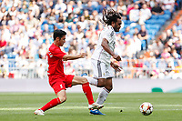 Real Madrid´s Karembeu (R) and Liverpool´s Luis Garcia during 2015 Corazon Classic Match between Real Madrid Leyendas and Liverpool Legends at Santiago Bernabeu stadium in Madrid, Spain. June 14, 2015. (ALTERPHOTOS/Victor Blanco)