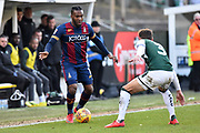 Dominic Poleon (11) of Bradford City looks for a way past Gary Sawyer (3) of Plymouth Argyle during the EFL Sky Bet League 1 match between Plymouth Argyle and Bradford City at Home Park, Plymouth, England on 24 February 2018. Picture by Graham Hunt.