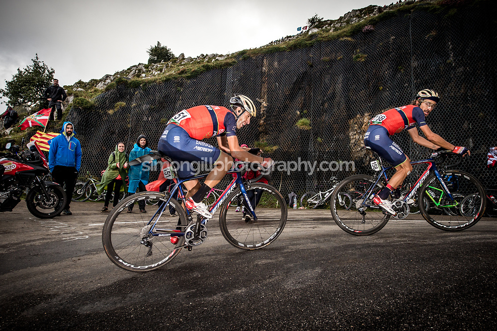 September 9th 2017, Alto de L'Angliru, Spain; Cycling, Vuelta a Espana Stage 20; Franco Pellizotti leads up Vincenzo Nibali within the final km of stage 20 on the climb of the Angliru.