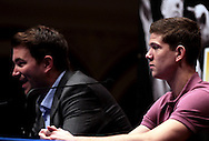 Picture by Richard Gould/Focus Images Ltd +447814 482222.24/04/2013.Eddie Hearn (L) talks about Luke Campbell as he listens intensely at the Press Conference at Hull City Hall, Hull.