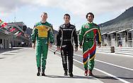 Tri Nations (L-R) A1 drivers, John Martin (AUS), Jonny Reid (NZ) and Adrian Zaugg (SA). A1 GP official practice and qualifying, Taupo, New Zealand, Saturday 19 January 2008. Photo: Renee McKay/PHOTOSPORT/SPORTZPICS/SPORTZPICS