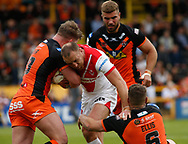 James Roby  (C) of St Helens  tackled by Jamie Ellis (R) of  Castleford Tigers during the Ladbrokes Challenge Cup match at the Mend-A-Hose Jungle, Castleford<br /> Picture by Stephen Gaunt/Focus Images Ltd +447904 833202<br /> 12/05/2018
