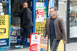 © London News Pictures. 21/03/2016. MATT DAMON filming in Woolwich, East London for Jason Bourne, the fifth and latest film in the Bourne franchise. During the filming, parts of Woolwich were transformed to look like a street scene in Greece. Photo credit: Chris Mansfield/LNP