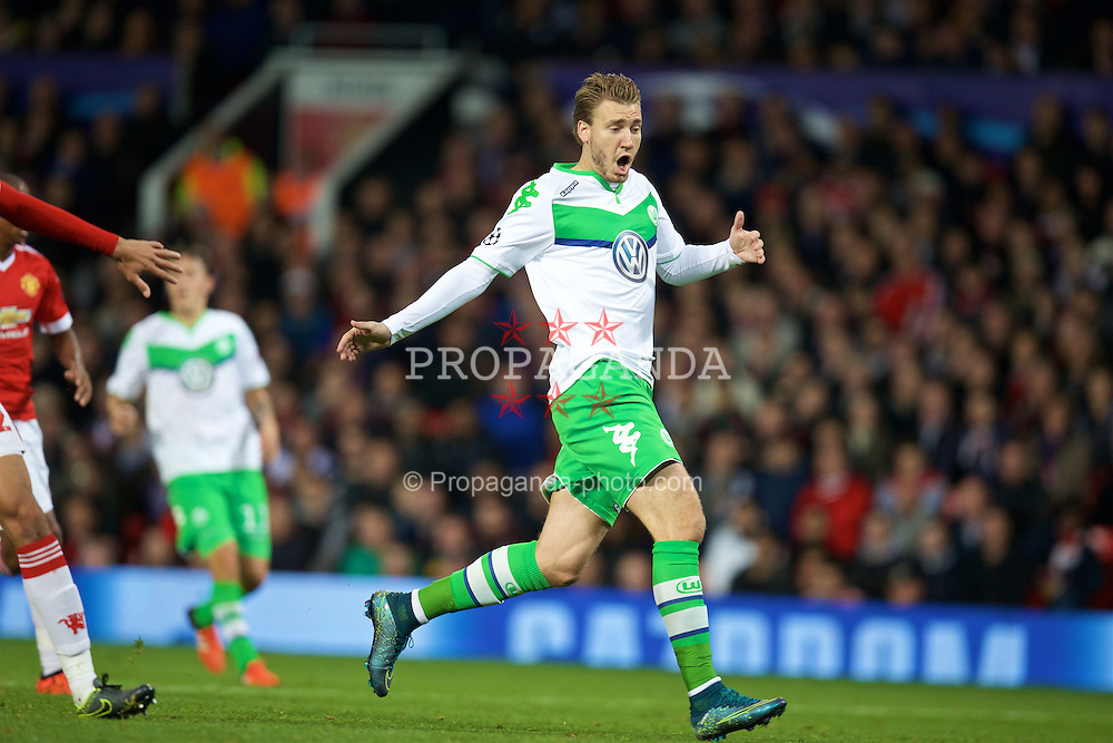 MANCHESTER, ENGLAND - Wednesday, September 30, 2015: VfL Wolfsburg's Nicklas Bendtner in action against Manchester United during the UEFA Champions League Group B match at Old Trafford. (Pic by David Rawcliffe/Propaganda)