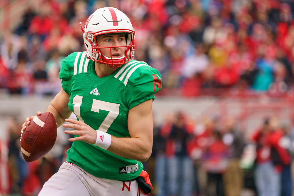Noah Vedral #17 during Nebraska's annual Spring Game at Memorial Stadium in Lincoln, Neb., on April 21, 2018. © Aaron Babcock