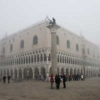 VENICE, ITALY - NOVEMBER 20: A  general view of St Mark's Square and Palazzo Ducale as thick fog shrouds the city, on November 20, 2011 in Venice, Italy. Venice woke up this morning under a heavy blanket of fog adding to the atmosphere of the city<br /> <br />  HOW TO LICENCE THIS PICTURE: please contact us via e-mail at sales@xianpix.com or call our offices London   +44 (0)207 1939846 for prices and terms of copyright. First Use Only ,Editorial Use Only, All repros payable, No Archiving.© MARCO SECCHI