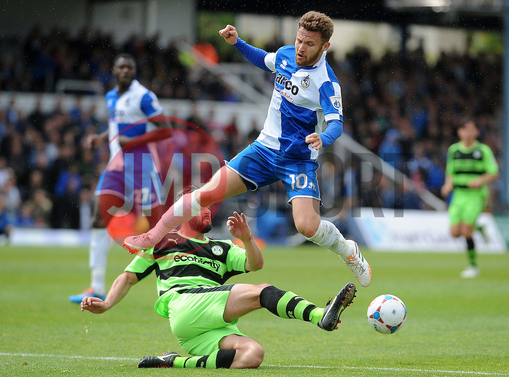 Forest Green Rovers's Aarran Racine clears from Bristol Rovers' Matty Taylor - Photo mandatory by-line: Neil Brookman/JMP - Mobile: 07966 386802 - 03/05/2015 - SPORT - Football - Bristol - Memorial Stadium - Bristol Rovers v Forest Green Rovers - Vanarama Football Conference