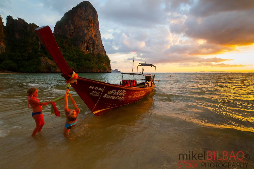 Sunset on the beach. Railay. Krabi province, Thailand