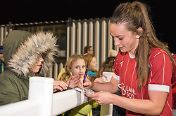 Chloe Arthur of Bristol City Women signs an autograph - Mandatory by-line: Paul Knight/JMP - 02/12/2017 - FOOTBALL - Stoke Gifford Stadium - Bristol, England - Bristol City Women v Brighton and Hove Albion Ladies - Continental Cup Group 2 South