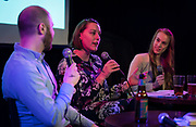 """Abigail Becker speaks during the live taping of the """"Madsplainers"""" Podcast at High Noon Saloon in Madison, WI on Tuesday, April 9, 2019."""