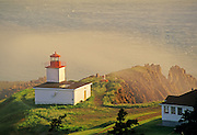 Cape d'Or Lighthouse on the Bay of Fundy in fog<br /> Advocate Harbour<br /> Nova Scotia<br /> Canada