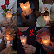 AIDS Candlelight Vigil, remembrance  and memorial of love ones who died of HIV/AIDS and a show of support for survivors and those now afflicted.  A show of  emotions of grief and sorrow.<br /> <br /> AIDS Candlelight Vigil - GOR-75142-10<br /> AIDS Candlelight Vigil - GOR-75211-10<br /> AIDS Candlelight Vigil - GOR-75130-10