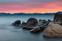 """Tahoe Boulders at Sunset 16"" - Long exposure sunset photograph of boulders along Lake Tahoe's east shore, near Hidden Beach."