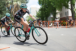 Laura Massey (GBR) of Drops Cycling Team leans into a corner during the fourth, 70 km road race stage of the Amgen Tour of California - a stage race in California, United States on May 22, 2016 in Sacramento, CA.