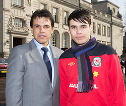 CARDIFF, WALES - Thursday, March 1, 2012: Members of the Football Association of Wales take part in the 10th St. David's Day Parade through the streets of Cardiff. Wales manager Chris Coleman and his son. (Pic by David Rawcliffe/Propaganda)
