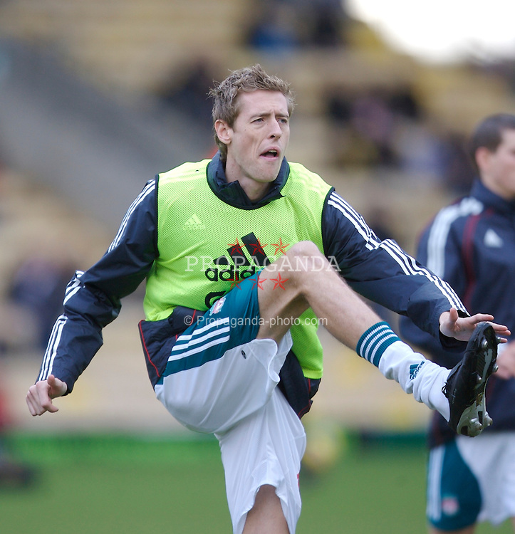 Watford, England - Saturday, January 13, 2007: Liverpool's Peter Crouch warms-up before the Premiership match against Watford at Vicarage Road. (Pic by David Rawcliffe/Propaganda)
