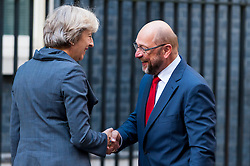 © Licensed to London News Pictures. 22/09/2016. London, UK. Theresa May, Prime Minister, meets Martin Schulz, President of the European Parliament, at Downing Street, for talks. Photo credit : Stephen Chung/LNP